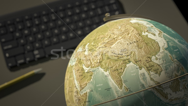 globe on a desktop shows India Stock photo © magann
