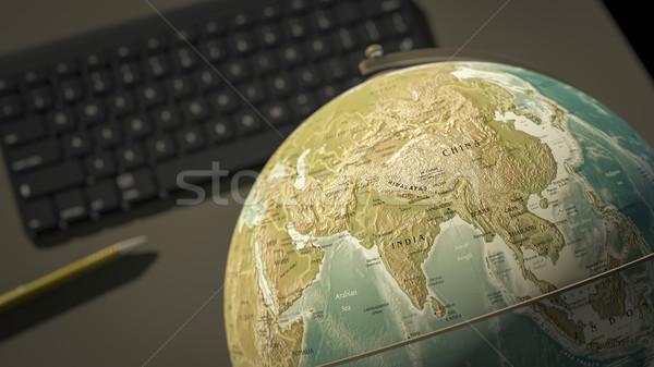 Wereldbol desktop 3D kaart pen Stockfoto © magann