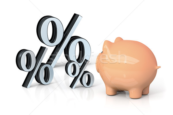 a piggy bank is looking for percentage Stock photo © magann
