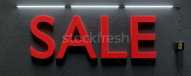 Podziemnych ściany neon światła słowo sprzedaży Zdjęcia stock © magann