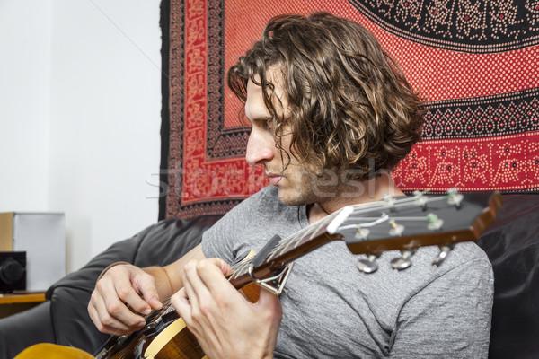 Gitáros kép jóképű fürtös hajviselet zene Stock fotó © magann