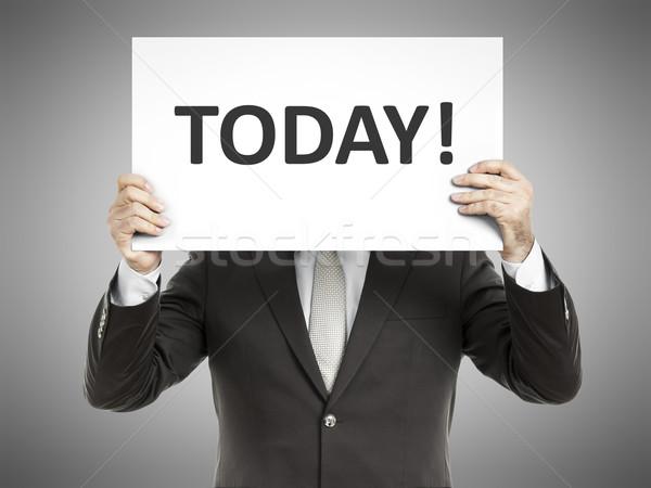 Człowiek biznesu wiadomość papieru twarz dzisiaj Zdjęcia stock © magann