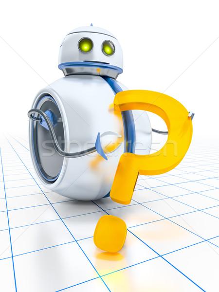 Tatlı küçük robot soru işareti adam Stok fotoğraf © magann