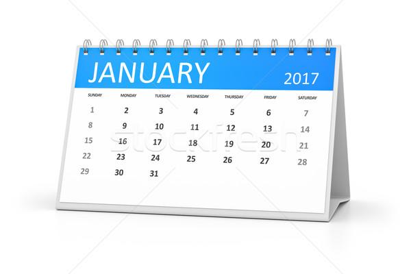 blue table calendar 2017 january Stock photo © magann