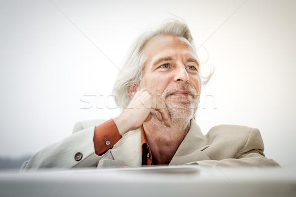 Сток-фото: человека · Открытый · костюм · изображение · небе · глаза