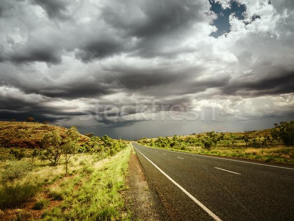 Yol kötü hava görüntü araba güneş çöl Stok fotoğraf © magann