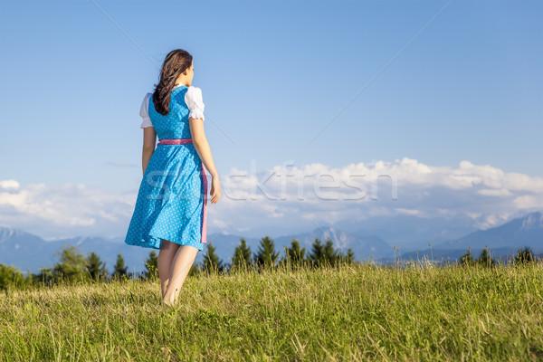 woman in bavarian traditional dirndl Stock photo © magann