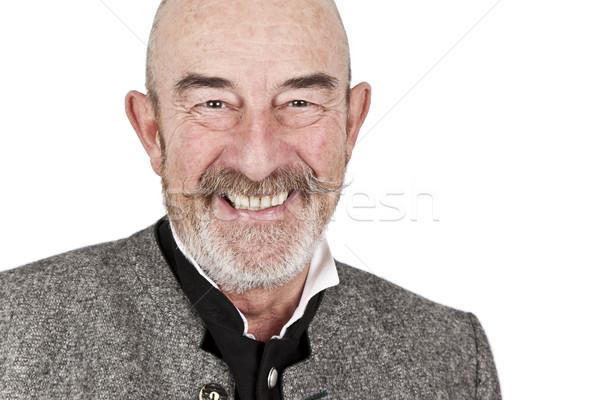 Vieillard gris barbe visage homme dents Photo stock © magann