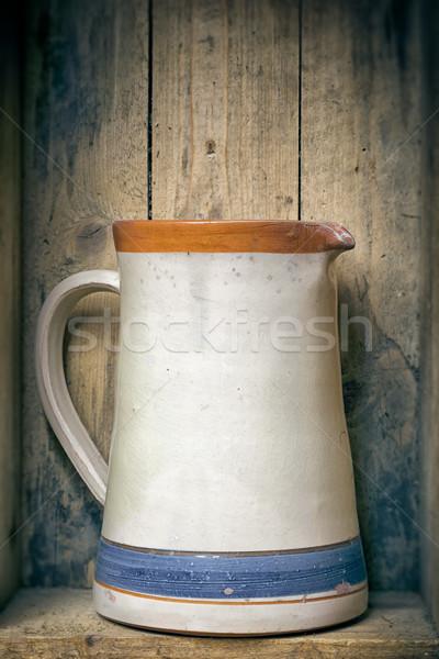öreg cserépedények kép fából készült fa asztal Stock fotó © magann