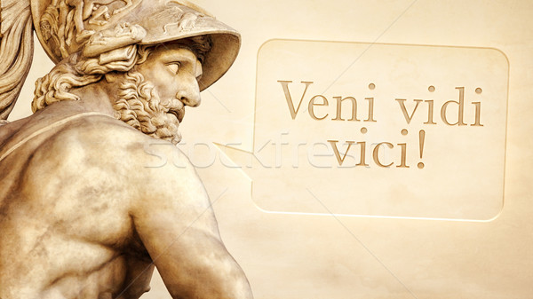 Menelaus statue with text Stock photo © magann