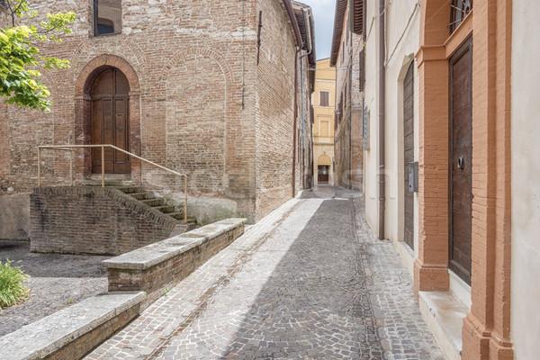 Díszlet Olaszország kép épület város piros Stock fotó © magann