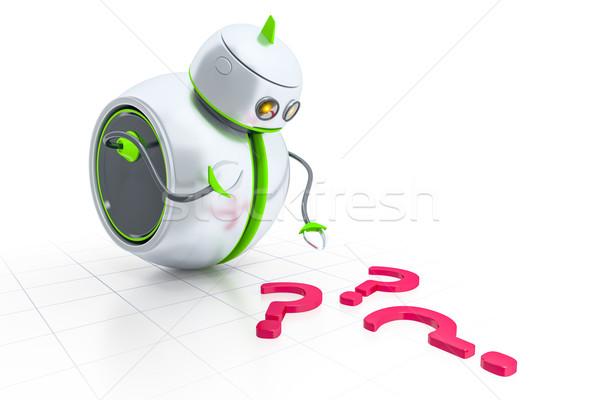 Zoete weinig robot naar vraagtekens business Stockfoto © magann