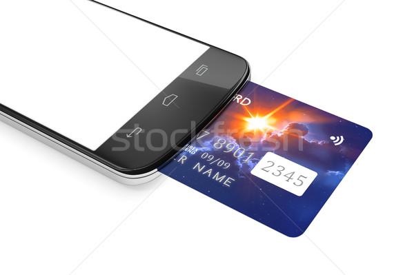 スマートフォン クレジットカード 携帯 支払い 3D レンダリング ストックフォト © magann