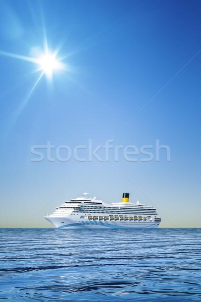 Cruiseschip 3d illustration witte blauwe hemel hemel water Stockfoto © magann