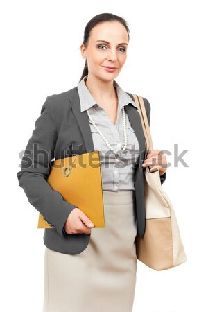 business woman with an orange binder Stock photo © magann