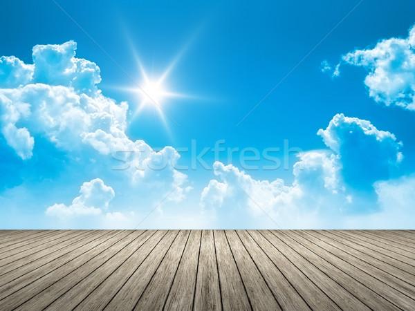 wooden jetty blue sky sun Stock photo © magann