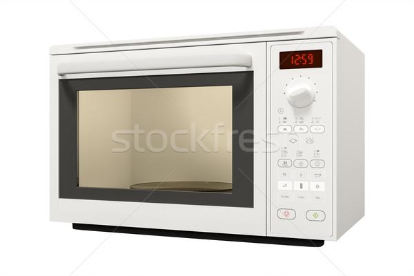 Typisch moderne magnetronoven geïsoleerd witte klok Stockfoto © magann