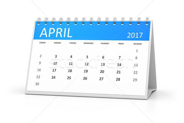 blue table calendar 2017 april Stock photo © magann