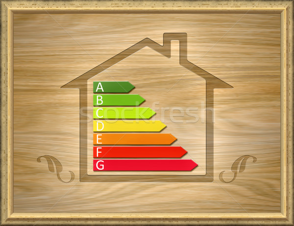 wooden house with energy efficiency graph Stock photo © magann