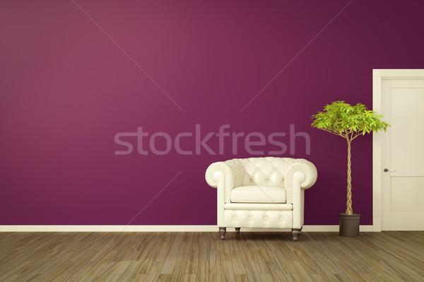 Zdjęcia stock: Fioletowy · pokój · biały · fotel · 3D