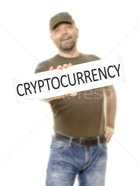 Szakállas férfi fehér tábla üzenet internet boldog Stock fotó © magann