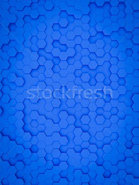 Mavi altıgen 3d illustration soyut arka plan sanat Stok fotoğraf © magann