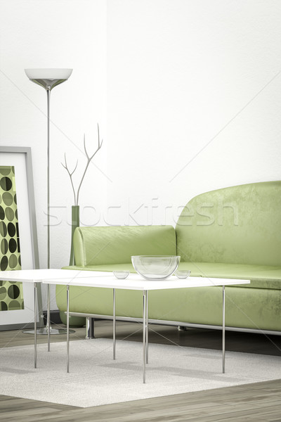 green sofa in a white room Stock photo © magann