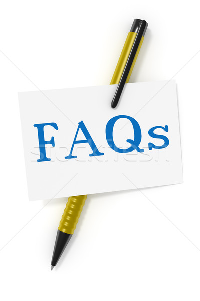 business card a ball pen and the text FAQs Stock photo © magann