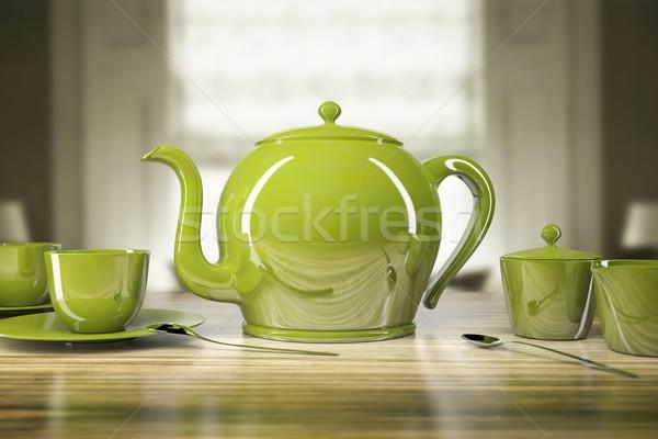 Yeşil demlik görüntü içmek çay hizmet Stok fotoğraf © magann