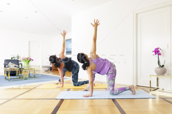 two women doing yoga at home Stock photo © magann