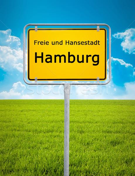 Città segno amburgo immagine auto erba Foto d'archivio © magann