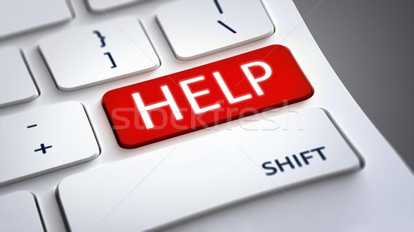 Bilgisayar klavye kırmızı yardım düğme 3D Stok fotoğraf © magann