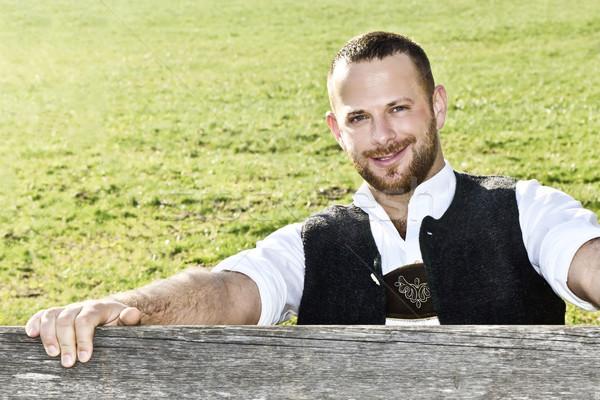 Gelenek geleneksel adam yeşil doğa eller Stok fotoğraf © magann