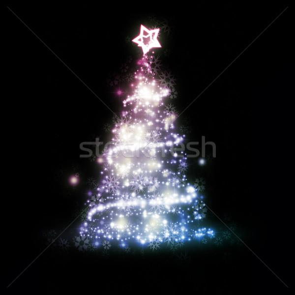 Foto stock: Rojo · azul · Navidad · imagen · agradable · árbol · de · navidad