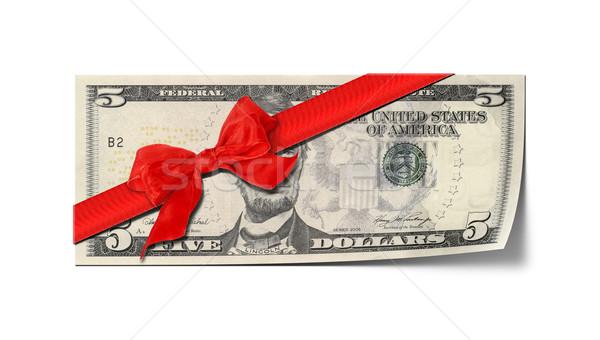 öt dollár utalvány kép üzlet pénz Stock fotó © magann