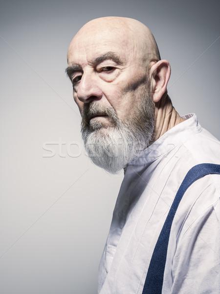 Vreemd naar ouder man portret afbeelding Stockfoto © magann