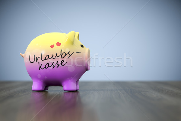 piggy bank with the word holiday fund in german language Stock photo © magann