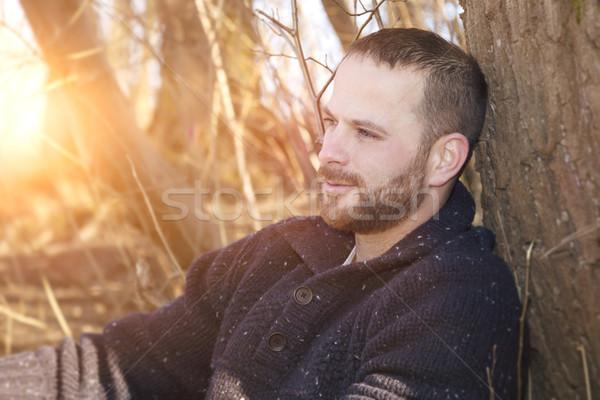 Stock fotó: Figyelmes · szakállas · férfi · erdő · naplemente · kép