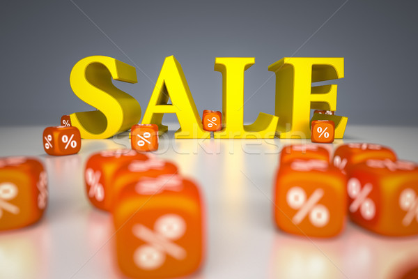 Sale sign with percentage dice Stock photo © magann