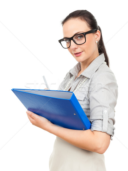 business woman with a blue binder Stock photo © magann