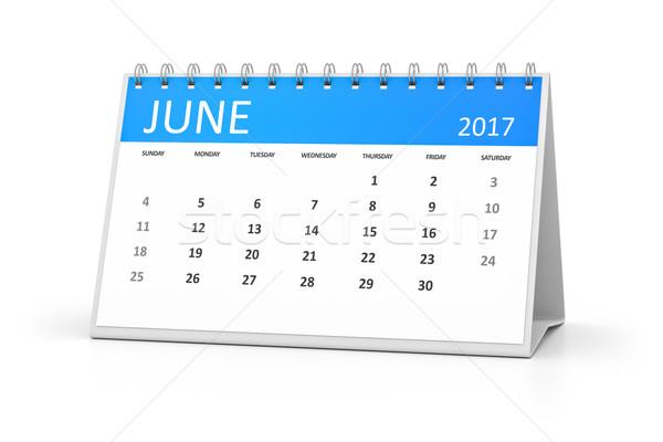 blue table calendar 2017 june Stock photo © magann