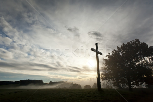 dramatic sky and a cross Stock photo © magann