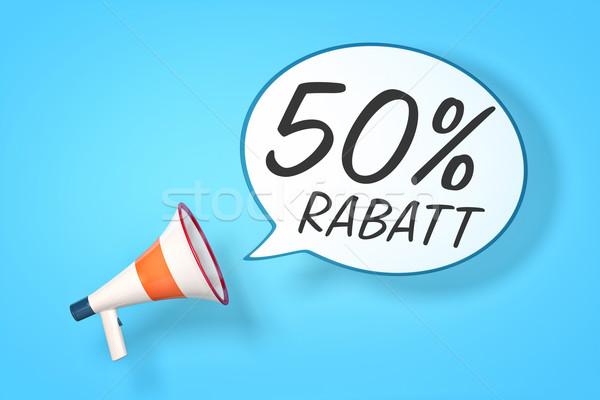 Megafoon tekstballon bericht 50 procent korting Stockfoto © magann