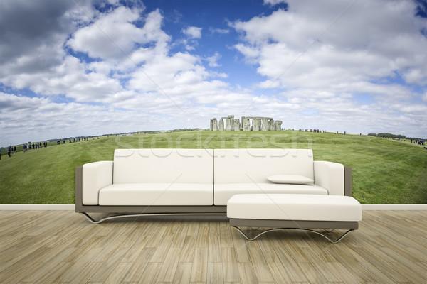 Photo mur canapé étage 3D Photo stock © magann