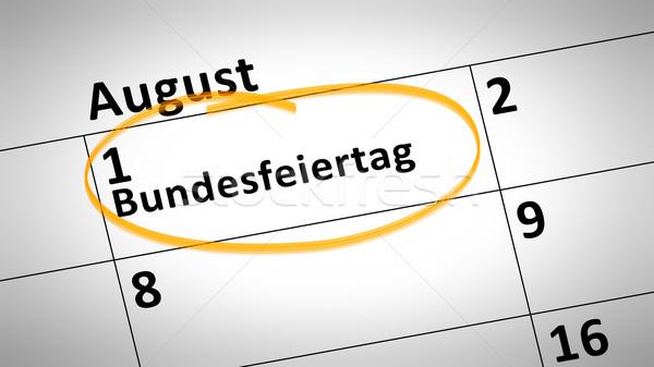 連邦政府の 休日 最初 8月 言語 カレンダー ストックフォト © magann