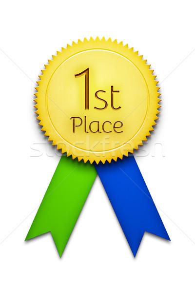 最初の場所 賞 リボン バッジ 実例 緑 ストックフォト © magann