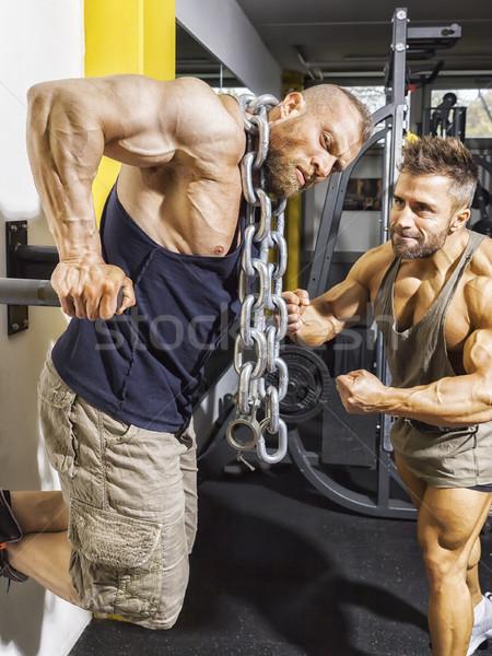 Männlich Bodybuilder Ketten Bild Fitness Fitnessstudio Stock foto © magann