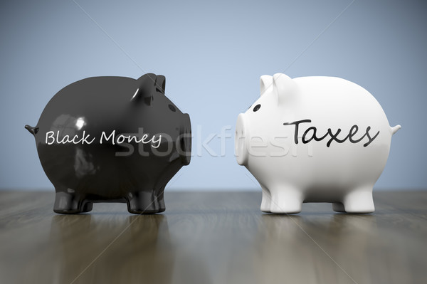 two piggy banks with the words black money and taxes Stock photo © magann