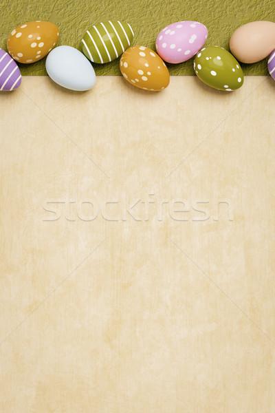 Belle oeufs colorés Pâques 3d illustration fond orange Photo stock © magann