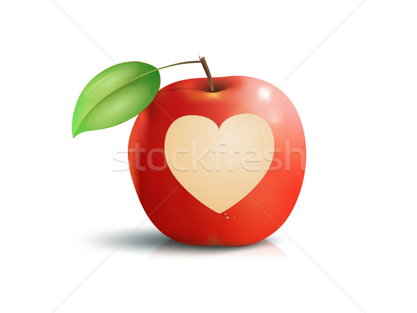 Pomme coeur image belle pomme rouge printemps Photo stock © magann
